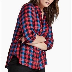 Lucky Brand Bungalow Red/Blue Plaid Shirt Top